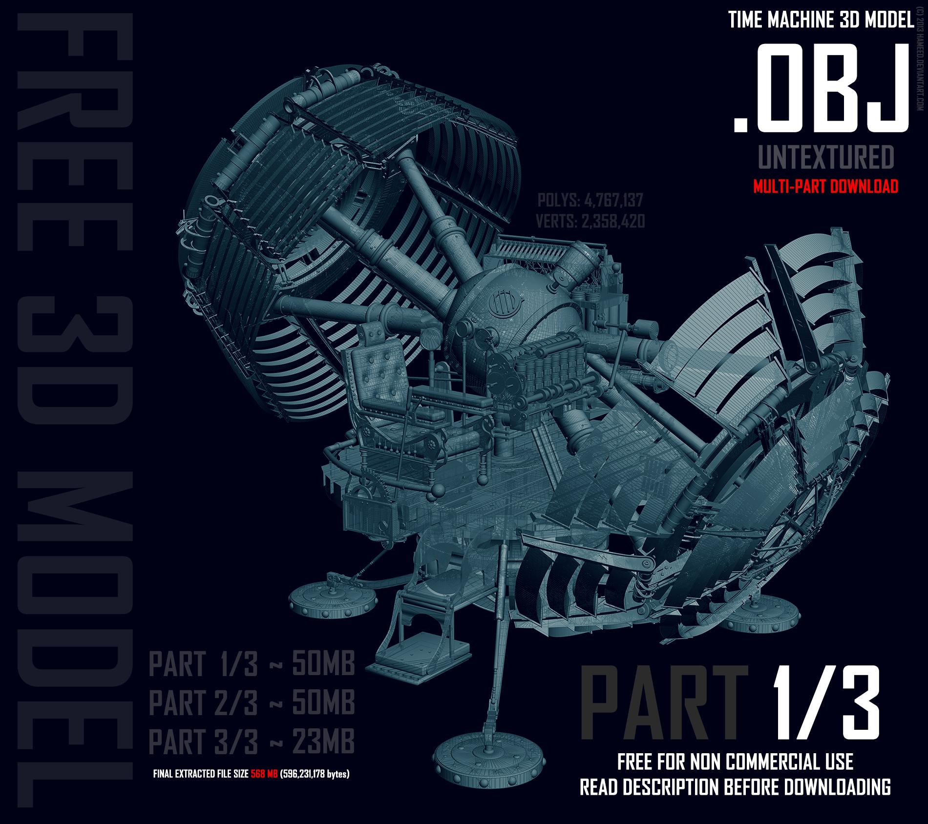 Time Machine 3D Model OBJ - 1 OF 3 by Hameed