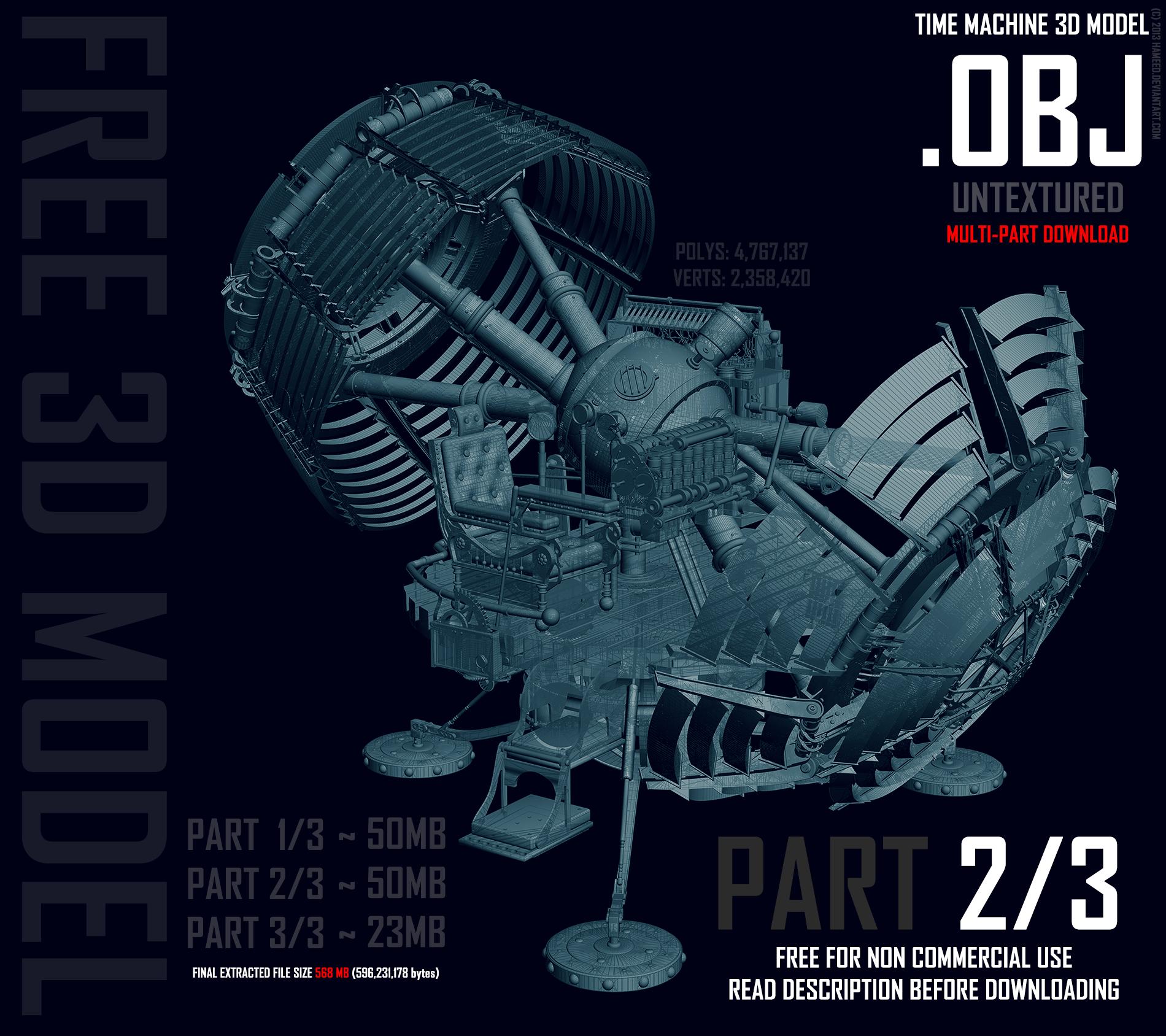 Time Machine 3D Model OBJ - 2 OF 3 by Hameed