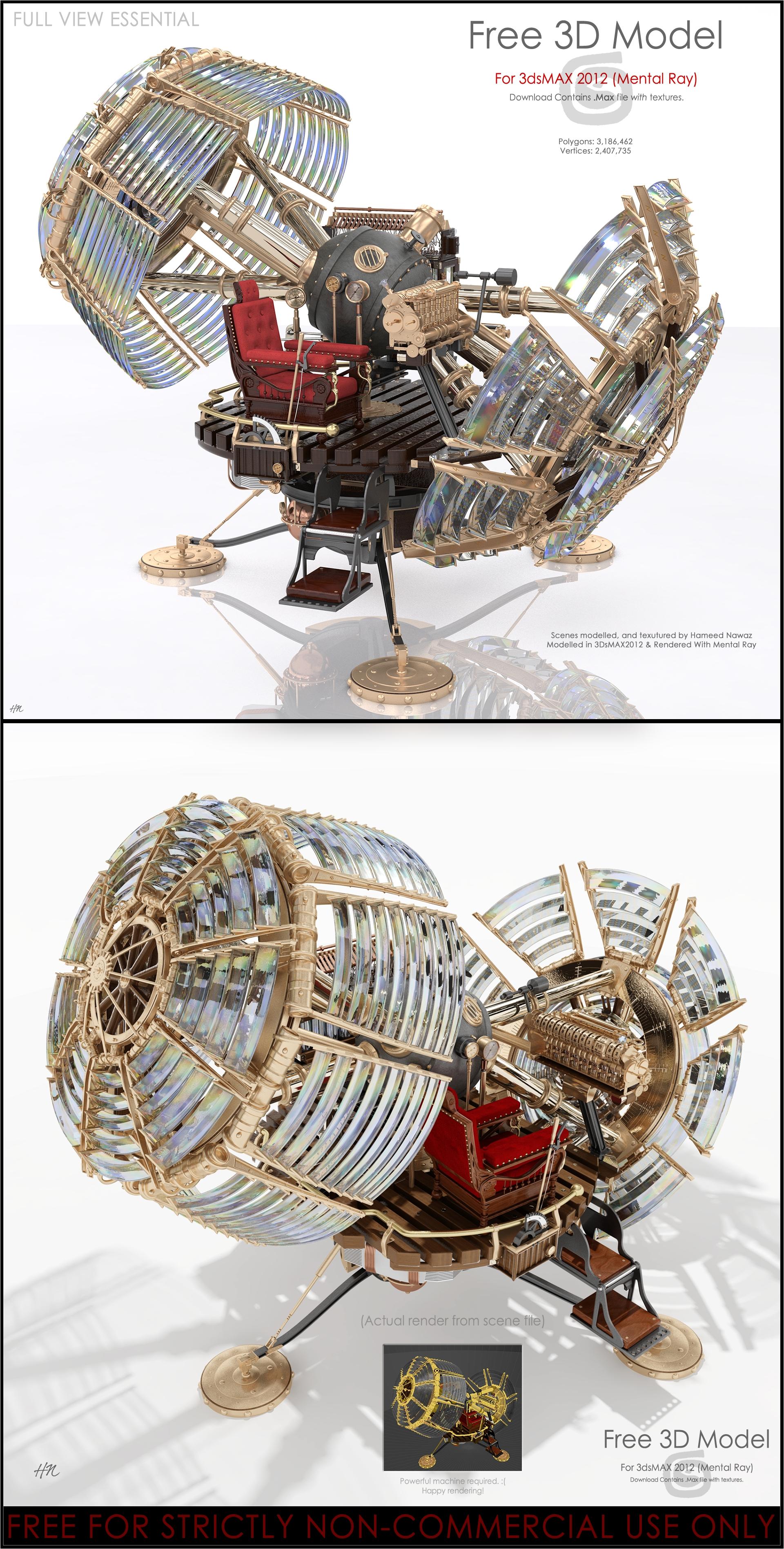 3d Models For Poser And Daz Studio: Time Machine 3D Model For 3DsMAX2012/MentalRAY By Hameed