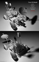 Downloadable Lunar Rover 3D Model (Untextured) by Hameed