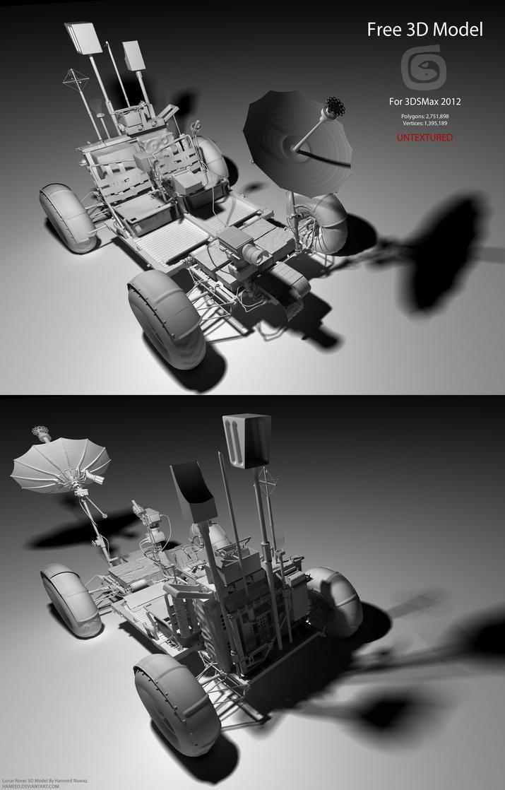 Downloadable Lunar Rover 3D Model (Untextured) by Hameed