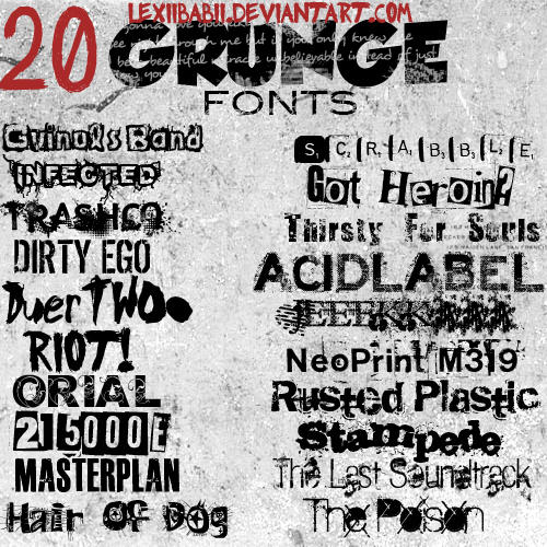 20 GRUNGE FONTS by lexiibabii01