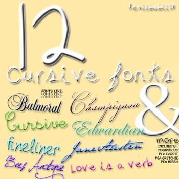 12 Cursive Fonts by lexiibabii01