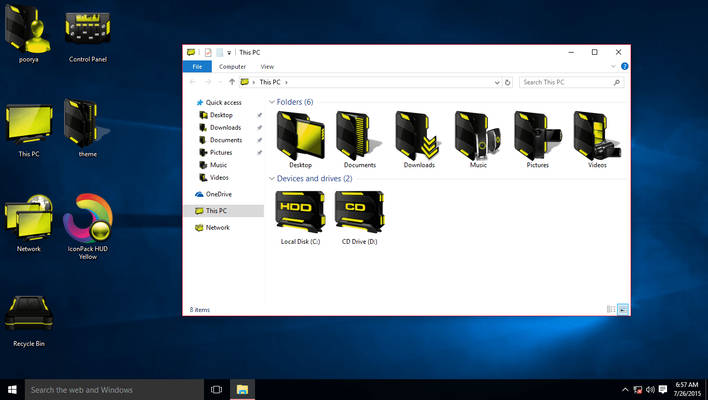 HUD Yellow IconPack for Win10