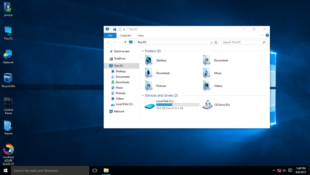 AZURE GLASS IconPack for Win10 by hamed1987s