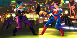 USF4 Mod - Chun Li: Morrigan and Lilith Cosplay