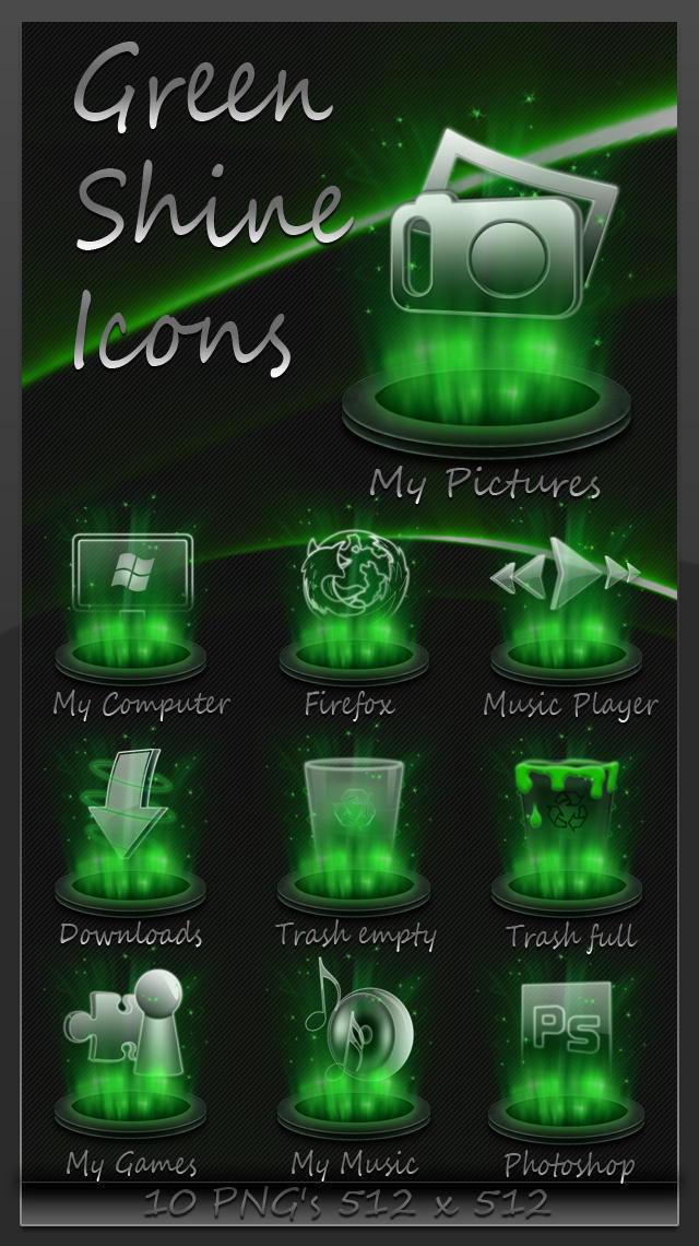 Green Shine Icons by Robsonbillponte666