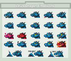 Leu's Dragon Emoticons set by Leundra