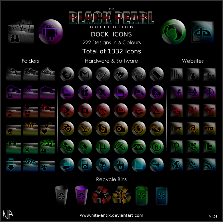 Black Pearl Dock Icons Set by NiTE-ANTiX