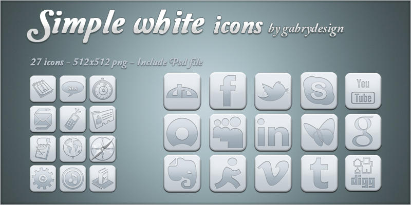 Simple white icons by Gabrydesign
