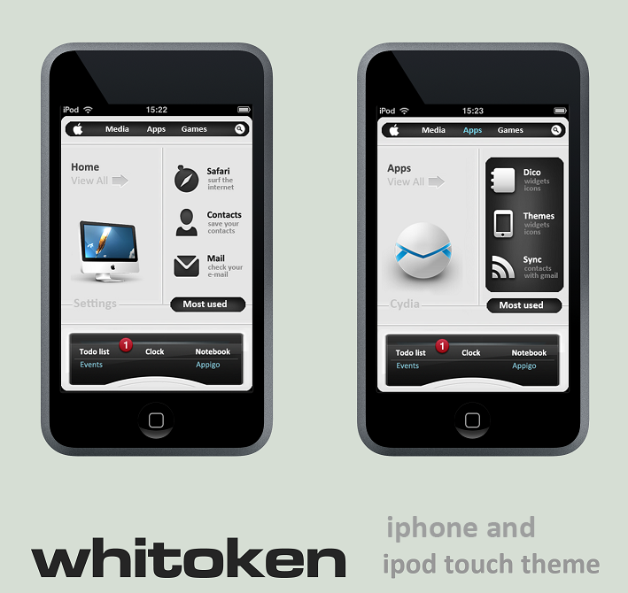 whitoken ipod touch 3.0 theme by 6mik-design