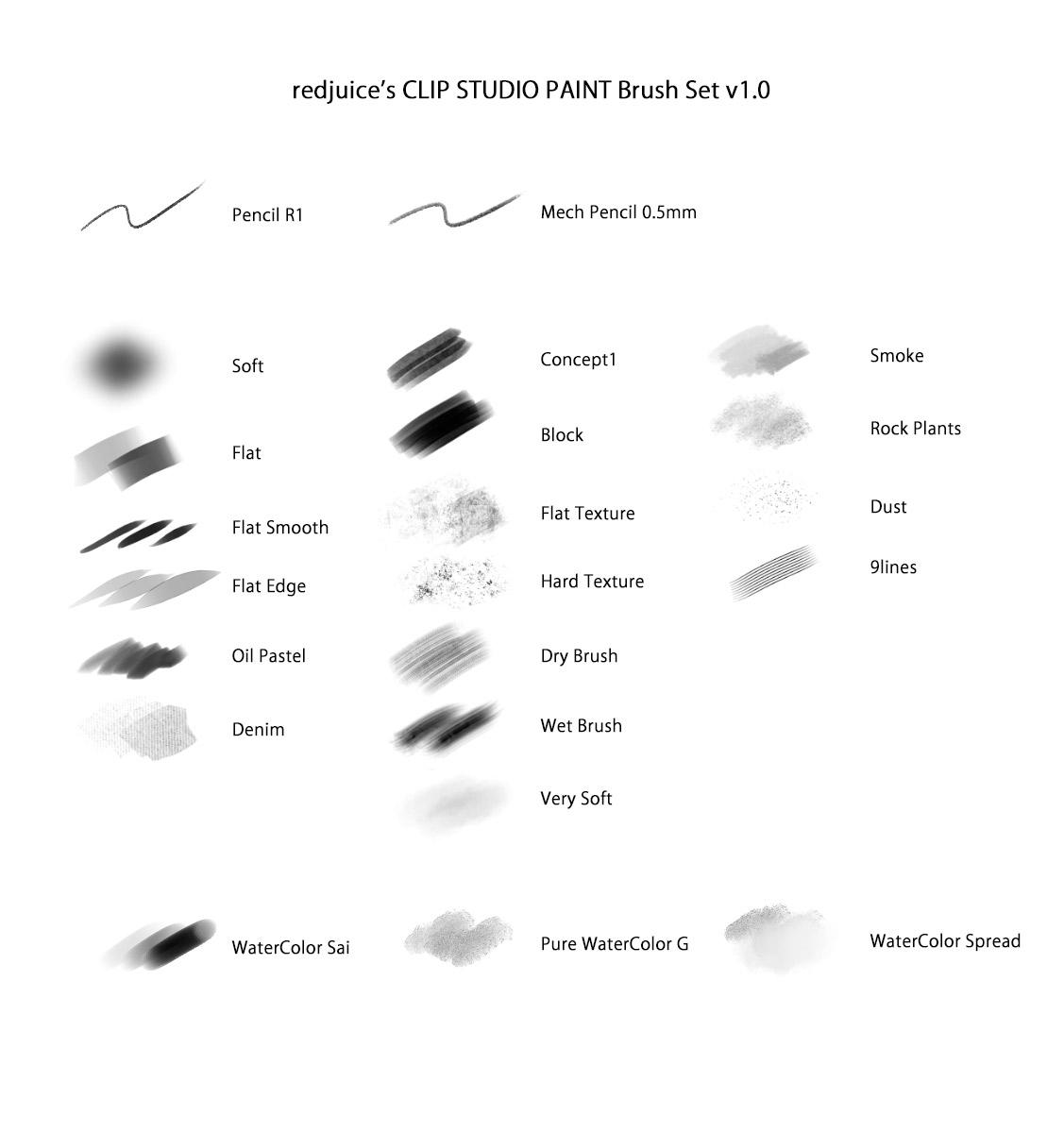 redjuice's Brush Set for CLIP STUDIO PAINT