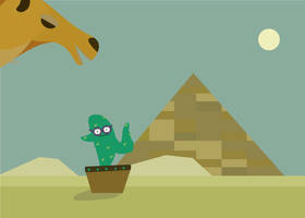 Jumping cactus with glasses