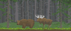 Pixely bear and moose idle animation