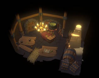 Hand-painted tavern scene (Daily Deviation)