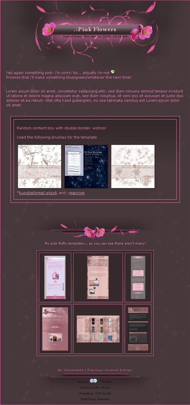 .:Pink Flowers by ginkgografix