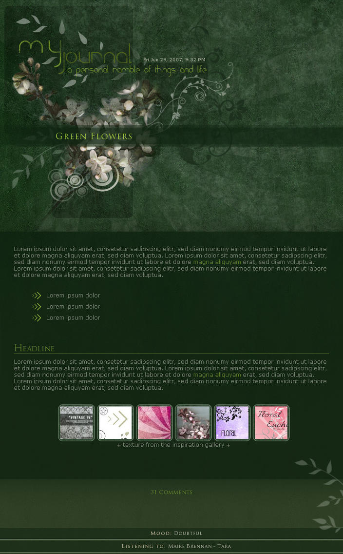 .:Green Flowers II by ginkgografix