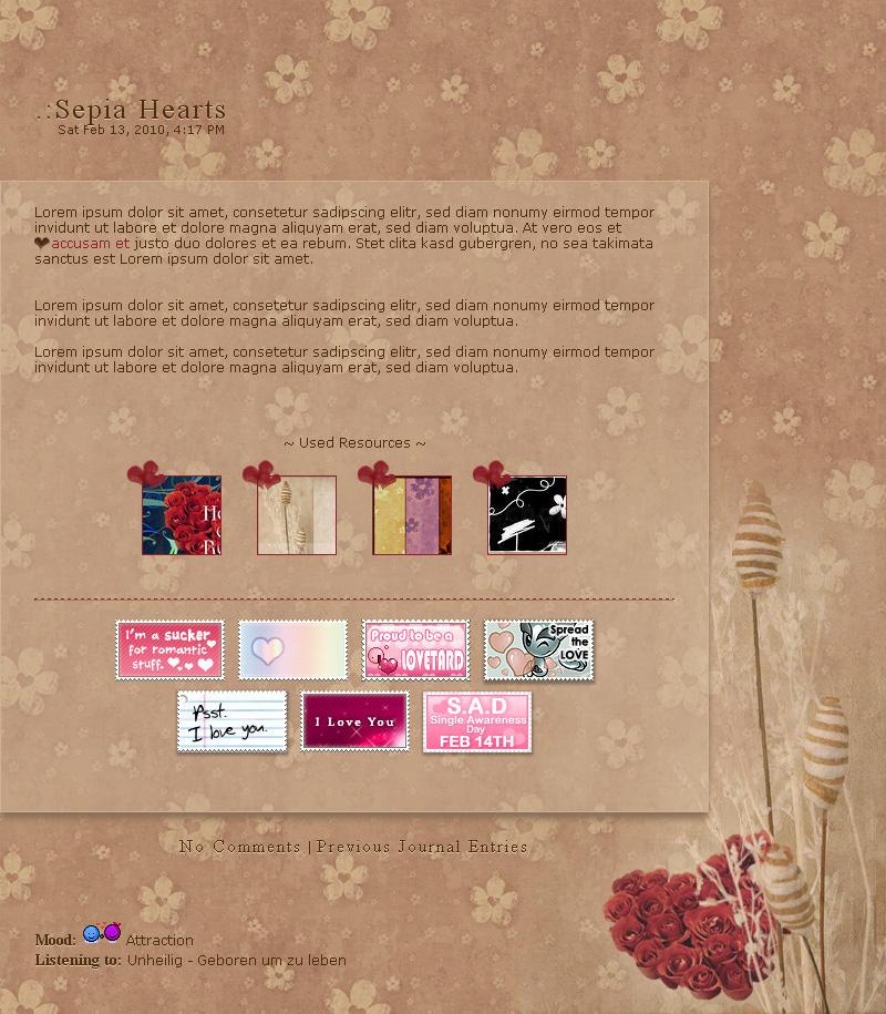 .:Sepia Hearts by ginkgografix