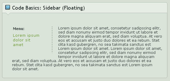 Code Basics: Sidebar- Floating by ginkgografix