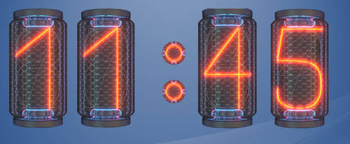 12 and 24 H Nixie HD Clock for Rainmeter