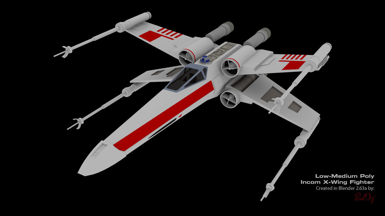 x wing fighter low poly blender 3d model by pixeloz on. Black Bedroom Furniture Sets. Home Design Ideas