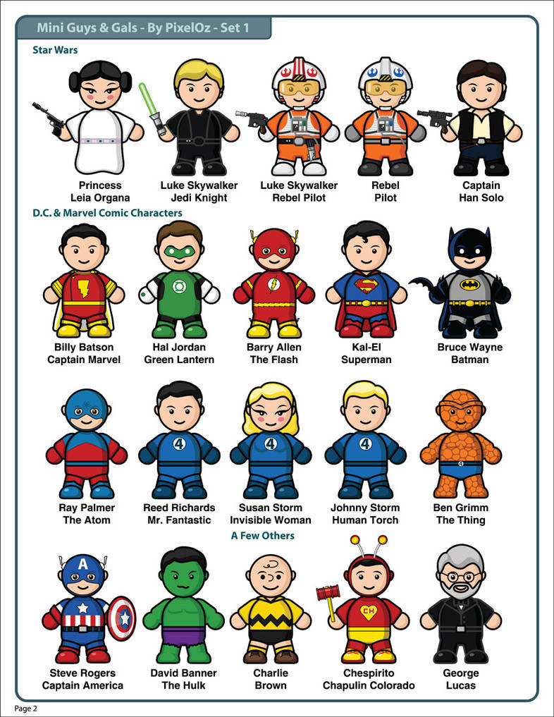 Mini-Guys And Gals Clipart Set 1 by PixelOz