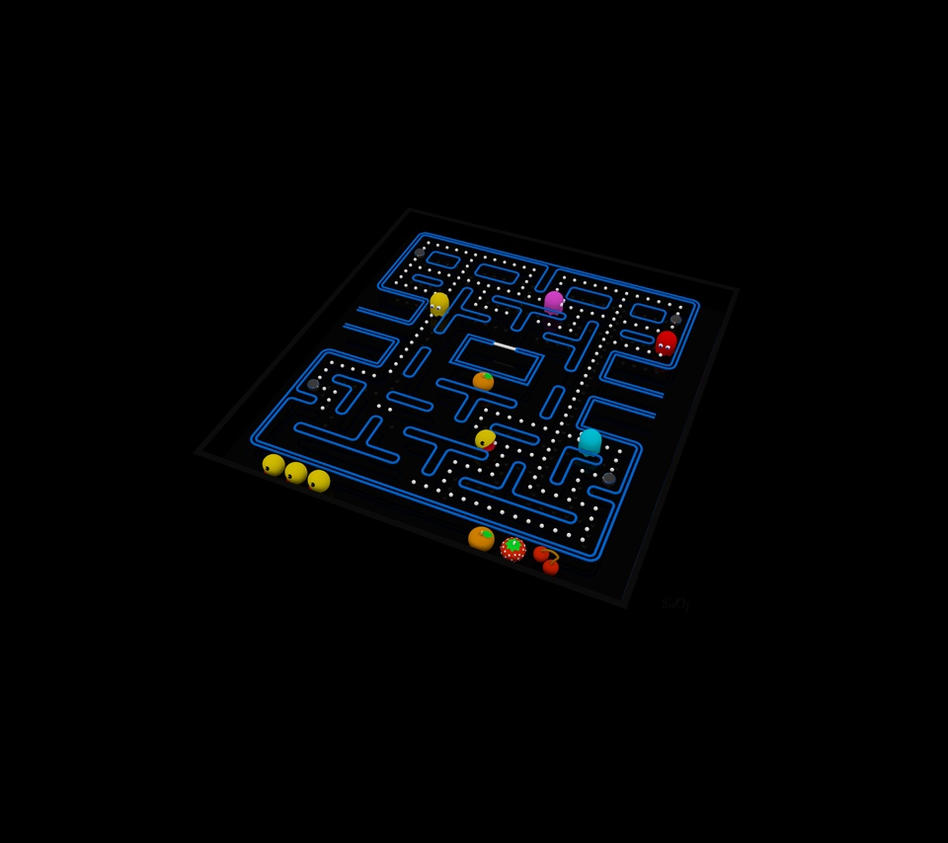 Pacman fever 3d wallpaper 1 in hd for portable by pixeloz on