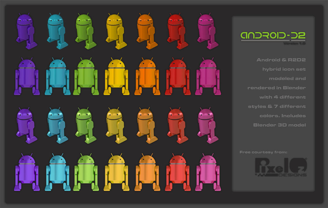 android d2 icons and blender 3d model set 1 by pixeloz on deviantart