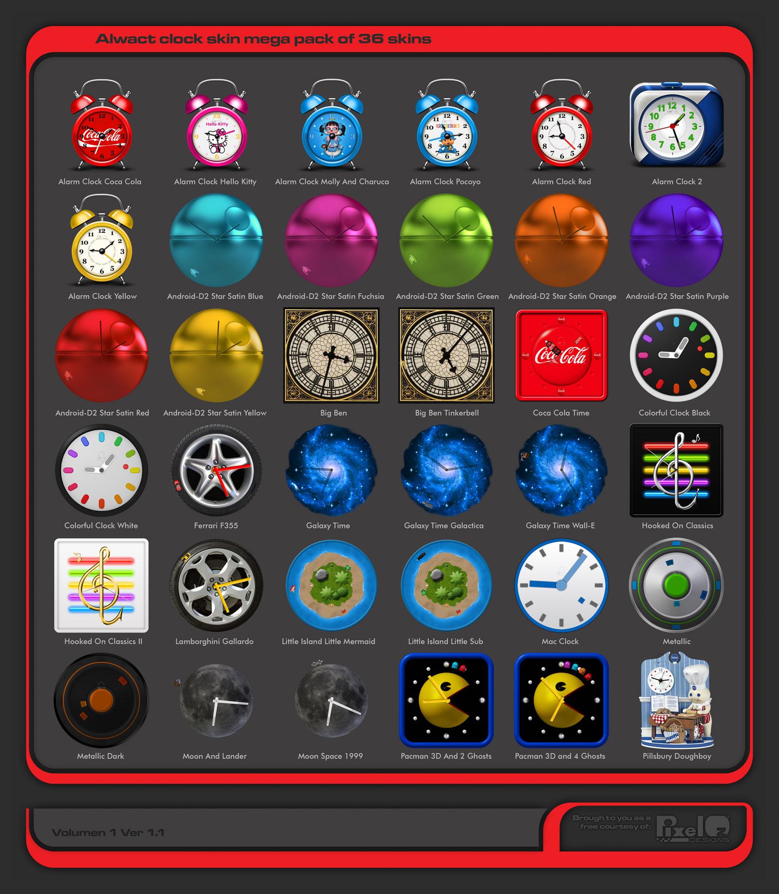 Alwact Clock Skin Mega Pack of 36 Skins Volume 1