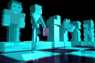 Minecraft Chess set, Cam4 render