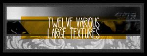 twelve various large textures