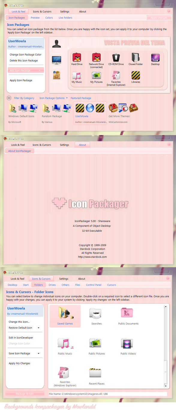 Theme background Iconpackager pink by creamanuali
