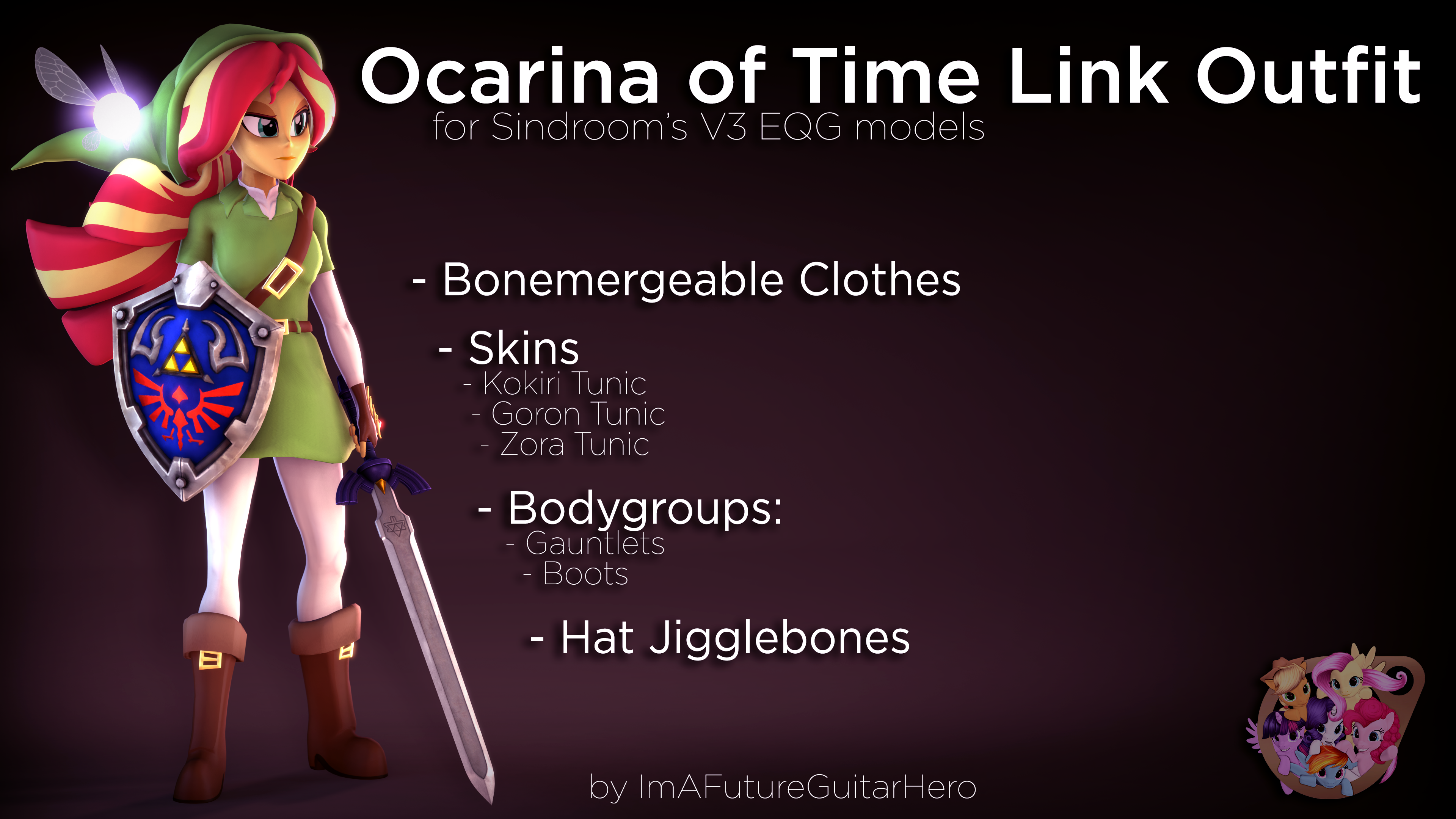 [SFM] [MLP] [DL] Link Outfit for V3 EQG by ImAFutureGuitarHero