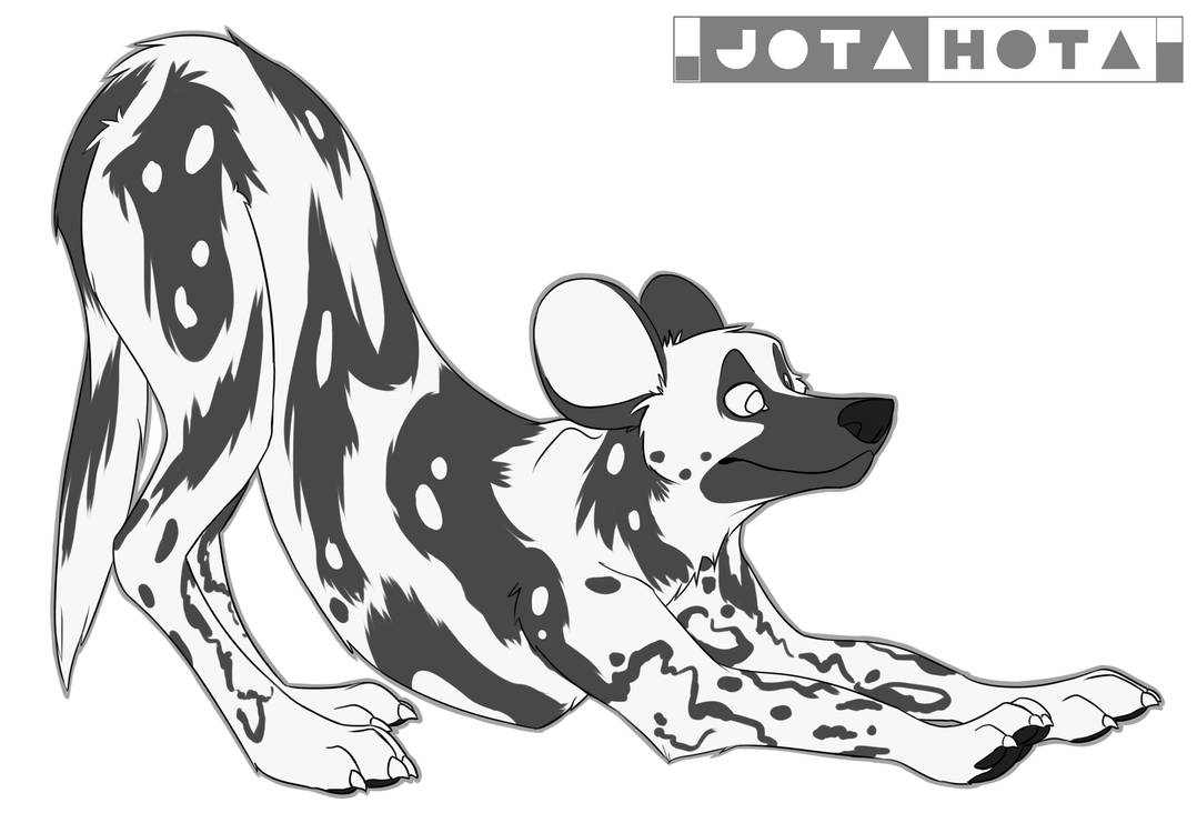African wild dog free lineart by jotahota