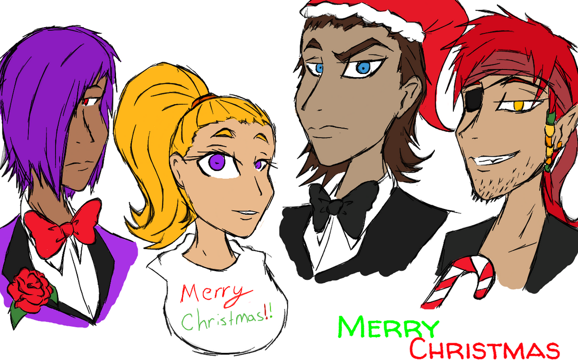 Merry christmas freddy chica foxy and bonnie by ask fnaf on