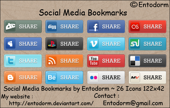 Social Media Bookmarks icon set