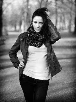 Ivana, sunset in park BW III