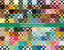 140 colored checkerboard patterns for Photoshop by CIRQUAN