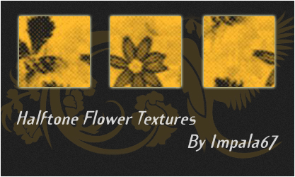 Halftone Flowers Texture Set by impala67