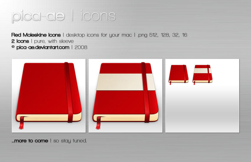 Red Moleskine Icons by pica-ae