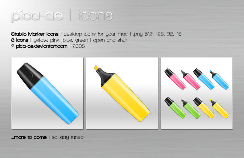 Stabilo Marker Icons by pica-ae