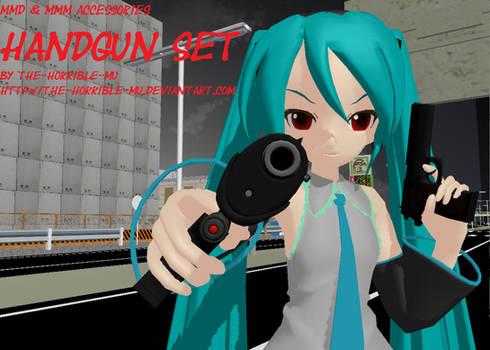 [MMD + M3 Accessory] Handgun + DL by The-Horrible-Mu