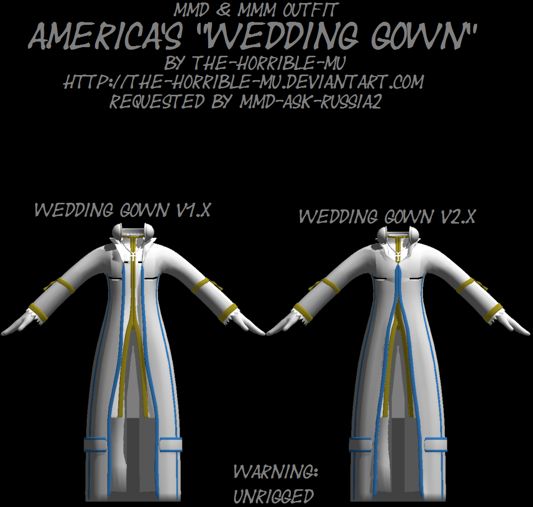 [Unrigged] Outfit: Americas's Wedding Gown + DL by The-Horrible-Mu