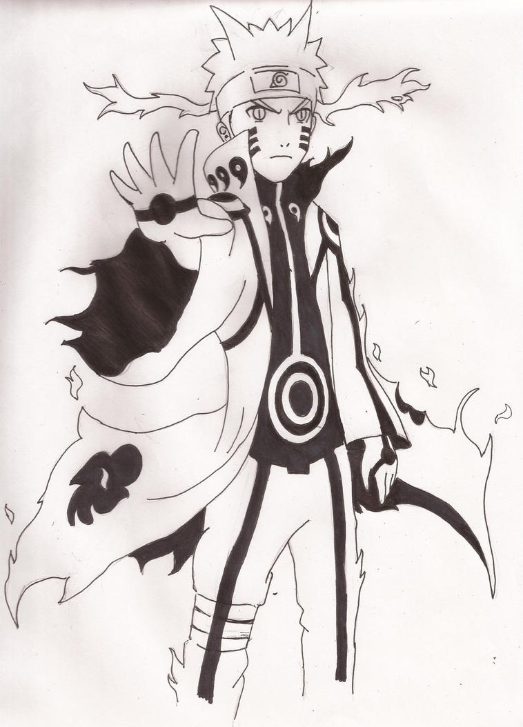 naruto nine tailed fox rasengan drawing