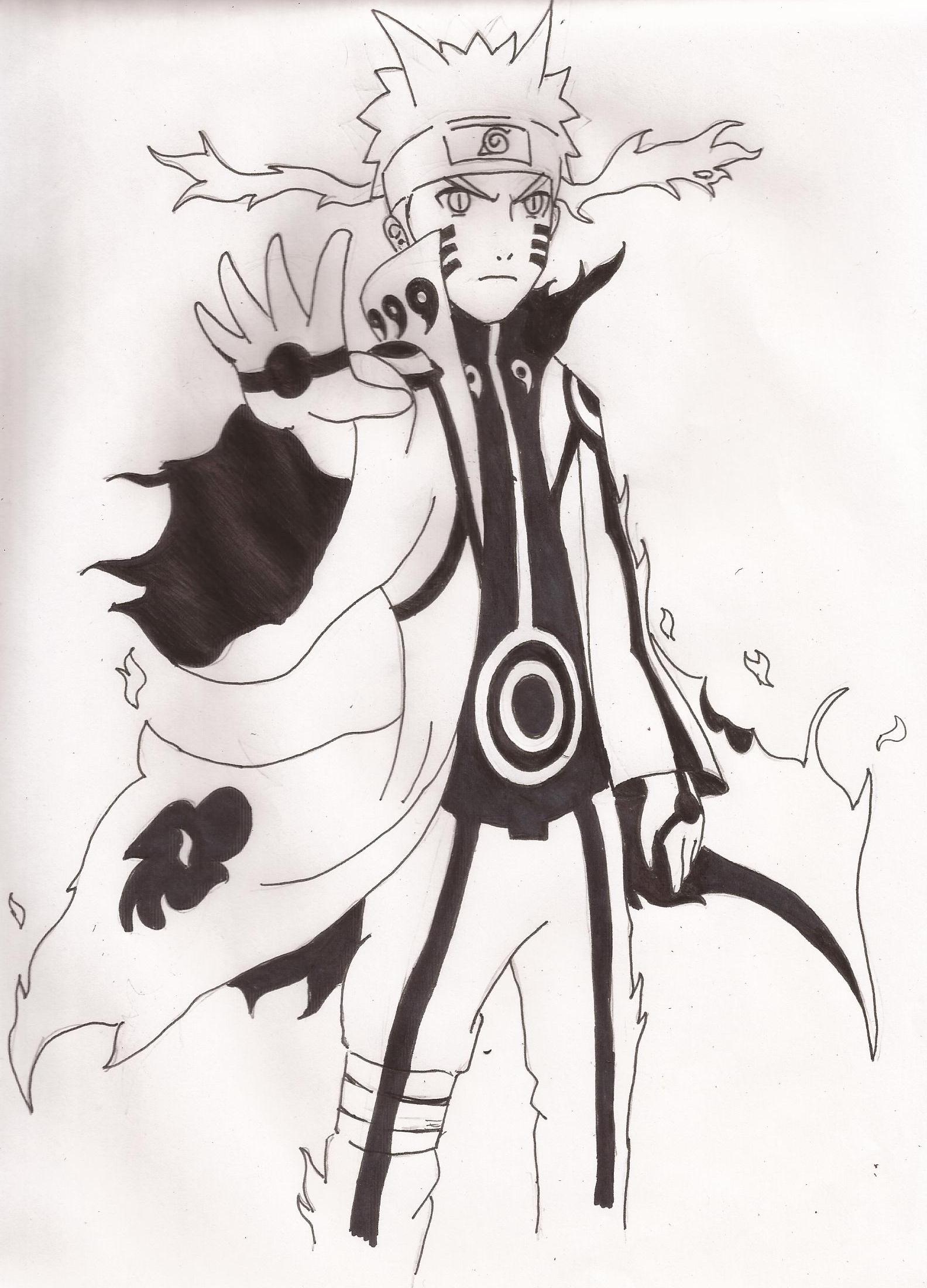 Naruto Bijuu mode (nine tails) by SebaMonto on DeviantArt