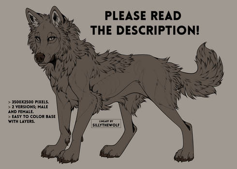 .: Free Wolf Lineart 2020 :.