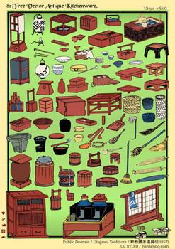 81 Free Vector Antique Kitchenware - Ukiyo-e SVG