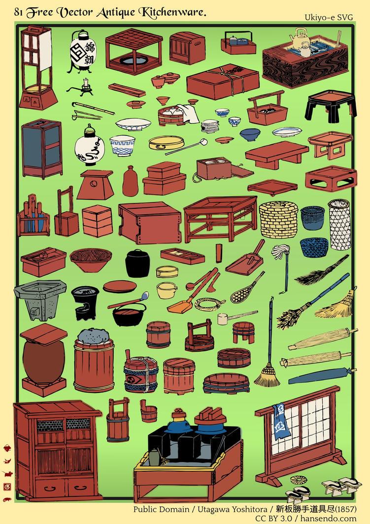 81 Free Vector Antique Kitchenware - Ukiyo-e SVG by ...