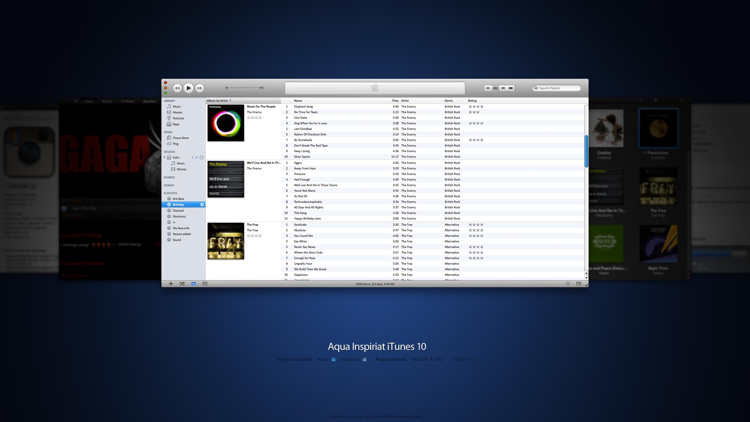 Aqua Inspiriat iTunes 10.2 by IceBlue-Fish