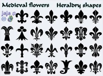Medieval flowers Heraldry shapes by jojo-ojoj